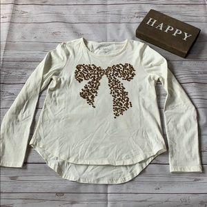 Girls long sleeve cream T-shirt size medium, 10